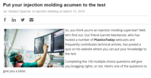 PlasticsToday: Put your injection molding acumen to the test